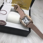 Cartier Sanos 100 W20073X8 Rose Gold Pink/Diamond Bezel
