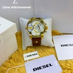 Diesel Little Daddy Chronograph Dual Time Brown Leather Gold Case Men's Watch DZ7288