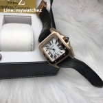 Cartier Sanos 100 W20073X8 Rose Gold Black Strap