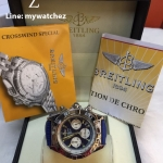 Breitling 1884 Chronomat Blue Dial and Leather Strap Ref # AB0110