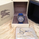 New Burberry Sport Chronograph Grey Dial Blue Rubber Men's Watch BU7706
