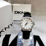 DKNY Glitz Black Leather Mother-of-pearl Dial Women's watch #NY8014