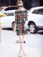 เสื้อผ้าแฟชั่นเกาหลี Lady Ribbon Thailand Korea Design By Lavida Blossom stitching feminine dress code8243