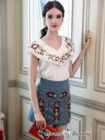 เสื้อผ้าแฟชั่นเกาหลี Sweet Bunny Present... Floral Embroidered Mini Skirt Denim Set