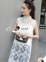 Seoul Secret Say's... Pealy Through Lace Sweet Long Blouse
