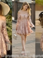 เสื้อผ้าแฟชั่นเกาหลี Lady Ribbon's Made Lady Eva Off-Shoulder Pink Guipure Lace Dress