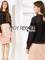 เสื้อผ้าแฟชั่นเกาหลี Lady Ribbon's Made Lady Ashley Classy Vintage Chiffon & Lace Blouse