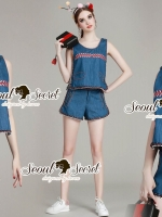Seoul Secret Say's... Lady Lasso Line Furnish Denim Set