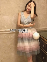 เสื้อผ้าแฟชั่นเกาหลี Lady Ribbon's Made Lady Evelyn Cotton Candy pastel Ruffle Tulle Dress