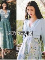 เสื้อผ้าแฟชั่นเกาหลี Lady Elle Vintage Feminine Floral Printed Blue Dress
