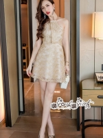 เสื้อผ้าแฟชั่นเกาหลี Lady Ribbon Thailand Seoul Secret Say'...Gold Minidress Lace Embroidery Design expensive