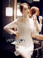 &#x1F380 Lady Ribbon's Made &#x1F380 Lady Morgan Elegant Feminine High-Neck Lace Dress