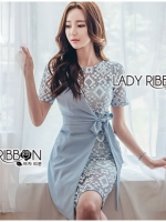 เสื้อผ้าแฟชั่นเกาหลี Lady Ribbon's Made Lady Sofia Graphic Two-Tone Baby Blue Dress