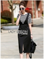 เสื้อผ้าแฟชั่นเกาหลี Lady Ribbon's Made Lady Salma Casual Striped T-Shirt and Black Overall Dress Set