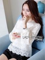 เสื้อผ้าแฟชั่นเกาหลี Lady Ribbon's Made Yves Classic Sweet White Lace Blouse