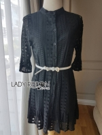 เสื้อผ้าแฟชั่นเกาหลี Lady Ribbon's Made Elizabeth Classic Feminine Peplum Lace Shirt Dress with Belt