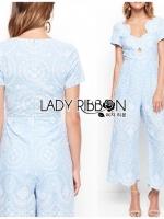 เสื้อผ้าแฟชั่นเกาหลี Lady Ribbon's Made Lady Carol Vintage Patterned Embroidered Jumpsuit