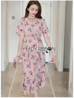 เสื้อผ้าแฟชั่นเกาหลี Lady Ribbon Thailand Lady Ribbon's Made Lady Zoey Flower Printed Ruffle Zig-Zag Crepe Dress