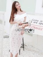 เสื้อผ้าแฟชั่นเกาหลี Lady Ribbon's Made Lady Rachel Off-Shoulder Cut-Out Cube Lace Bodycon Dress
