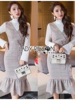เสื้อผ้าแฟชั่นเกาหลี Lady Ribbon's Made Lady Julia Smart Chic Checked Ruffle Dress Over High Neck Lace Blouse