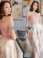 เสื้อผ้าแฟชั่นเกาหลี Lady Ribbon's Made Lady Courtney Feather Embroidered Silk Organza Dress