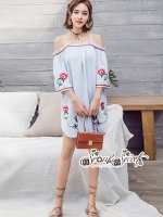 เสื้อผ้าแฟชั่นเกาหลี Lady Ribbon Thailand Seoul Secret Say'...Shoulder Blue Dress Embroidery Lace Bohemia
