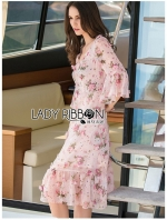 เสื้อผ้าแฟชั่นเกาหลี Lady Ribbon Thailand Lady Ribbon's Made Lady Marion Sweet Romantic Roses Printed Embellished Chiffon Dress