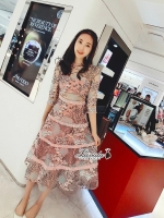 เสื้อผ้าแฟชั่นเกาหลี Lady Ribbon Thailand Korea Design By Lavida Coral stitching multi layer dress