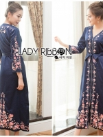 เสื้อผ้าแฟชั่นเกาหลี Lady Ribbon's Made Lady Claire Modern Hippie Flower Embroidered Navy Crepe Long Dress