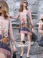 Seoul Secret Say's...Orientale Beige Blossom Print Dress