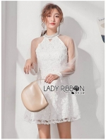เสื้อผ้าแฟชั่นเกาหลี Lady Ribbon Thailand Lady Ribbon's Made Lady Natalia Feminine Tulle and Flower Lace Cocktail Dress