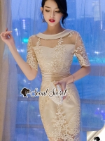 Seoul Secret Say's... Lovely Gold Netty Lace Dress