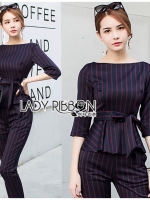 เสื้อผ้าแฟชั่นเกาหลี Lady Ribbon's Made Lady Anne Smart Casual Striped Crepe Ensemble Set