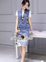 Seoul Secret Say's... Smily Denim Chic Blouse Dress Set