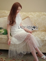 เสื้อผ้าแฟชั่นเกาหลี Lady Ribbon's Made Lady Penelope Pure Little Daisy Embroidered Maxi Dress