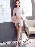 เสื้อผ้าแฟชั่นเกาหลี Lady Ribbon Thailand Seoul Secret Say'...Sweet Pink Sleeveless Bell Sleeve Mini Dress
