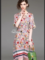 เสื้อผ้าแฟชั่นเกาหลี Lady Ribbon Thailand Korea Design By Lavida Colorful floral printing v neck dress