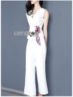 🎀Lady Rachel Smart Casual White Top with ColorfulRibbon and Side-Pleated Pants Set