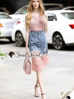 Seoul Secret Say's... Pinky Pleat Net Frienge Denim Skirt Lace Tops Set