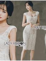 เสื้อผ้าแฟชั่นเกาหลี Lady Leanne Sexy Feminine Body Con White Lace Dress