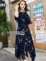 เสื้อผ้าแฟชั่นเกาหลี Lady Ribbon's Made Lady Mandy Floral Blooming Printed Embellished Cut-Out Dress