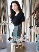 เสื้อผ้าแฟชั่นเกาหลี Seoul Secret Say's... Chic Line Swiiffy Pleat Tail Set