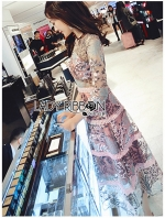 เสื้อผ้าแฟชั่นเกาหลี Lady Ribbon's Made Lady Carrie Coral Reef Embroidered Pink and Mint Lace Dress