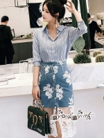 เสื้อผ้าแฟชั่นเกาหลี Lady Ribbon Thailand Seoul Secret Say'...Set Of Blue Stripes & Lace Skirt Style Korea