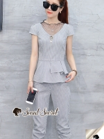 Seoul Secret Say's... Chic Netty V Collar Waist Fringe Set