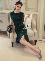 เสื้อผ้าแฟชั่นเกาหลี Korea Design By Lavida Floral pendulum lace button decoration dress code1764