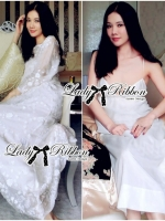 เสื้อผ้าแฟชั่นเกาหลี Lady Ribbon Thailand Lady Ribbon's Made Lady Lizzie Pyjama Style Embellished Organza Maxi Dress