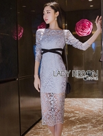 เสื้อผ้าแฟชั่นเกาหลี Lady Ribbon Thailand Lady Ribbon's Made Lady Vanessa Soft Elegant Pastel Blue Lace Midi Dress