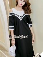Seoul Secret Say's... Chic Vee Strip Sirt Dress Sport Girl