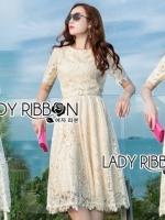 เสื้อผ้าแฟชั่นเกาหลี Lady Ribbon's Made Lady Nasha Sweet Classic White Lace Dress with Belt